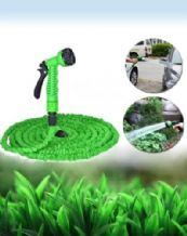 GREEN 25ft EXPANDING MAGIC POWERFUL HOSE PIPE GARDEN WITH FREE 7 SPEED SPRAY